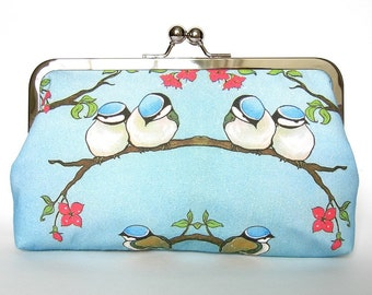 Kisslock Frame Clutch Silk Lined Blue Birds on a Branch Bridesmaid Bride Wedding Gifts Preppy Prep Bridal