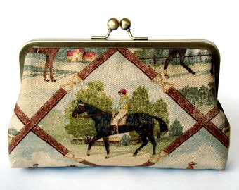 Kisslock Frame Clutch Silk Lined Jockey and Horse in Bridle Brown Royal Ascot Races Bridesmaid Bride Wedding Gifts Preppy autumn fall