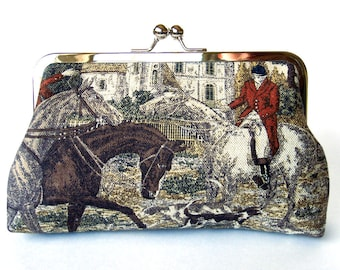 Kisslock Frame Clutch Silk Lined Red Fox Hunt Pink Red Coat Royal Ascot Races Bridesmaid Bride Wedding Gifts Preppy autumn fall