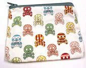cream skull and crossbones japanese fabric coin purse