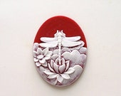 40x30 White on Red Dragonfly on Pond Lily Cameo 2