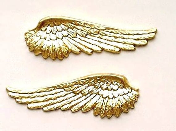 Brass Angel Wing Stampings One Pair