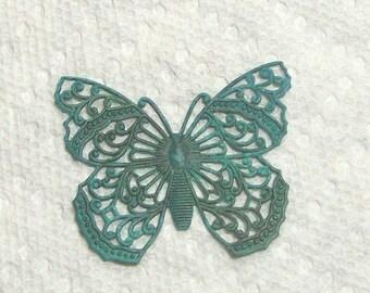 Large Filigree Butterfly Verdigris Patina