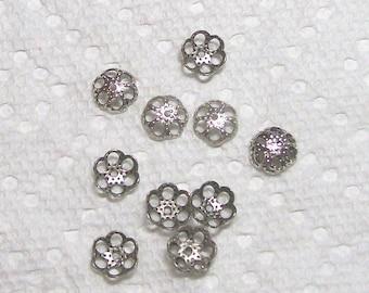 Bead Cap In Silver 12 pieces