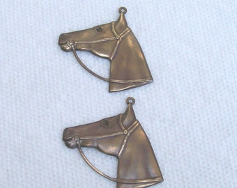 Horse Head With Loop Solid Brass 2 Pieces
