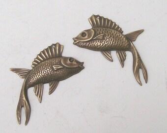 Fanciful Brass Fish Three Pair