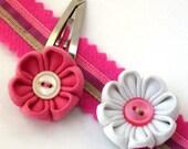 Pink Cashmere Ribbon Wristlet  and Tsumami Kanzashi Flower Snaps Set