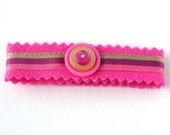 Pink Cashmere Button Cuff Bracelet with Three Stacked Buttons