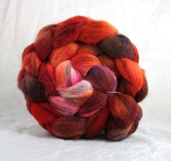 Heart Throb - 4oz Hand Painted Vintaged BFL Roving-FREE SHIPPING
