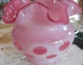 coin dot vintage glass vase....squatty rose white...fenton  RESERVED FOR SARA