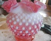hobnail glass vase...vintage....rose white...squatty ruffled fenton RESERVED FOR SARA