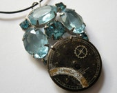 Steampunk Necklace Vintage Blue Rhinestones