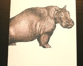 Hippo Card and Envelope - Original Artwork