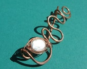 READY TO SHIP Shawl Pin Weaved Pearl & Copper kilt style pin for your knitted or crochet shawl, scarf or sweater