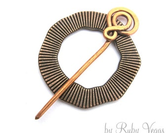 SHAWL PIN Reversible Thumbprint in copper. For knit, crochet or weaved shawls and scarves.