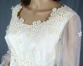 1960s wedding gown with embroidered lace