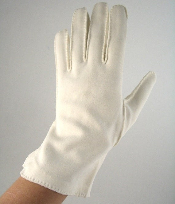 1950s white gloves with deco-flare cuff