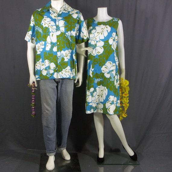 1970s Hawaiian barkcloth his and hers tiki wedding set NOS