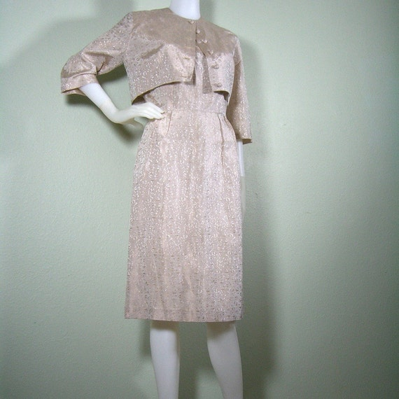 1960s fitted cocktail dress with matching jacket