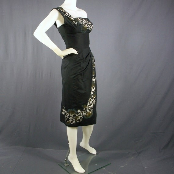 1950s one shoulder border print modified sarong dress by Alfred Shaheen