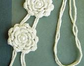 SALE Natural Crochet Flower Necklace - Cream