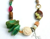 Ethnic Statement Necklace, Beaded Necklace, Tribal Necklace, Nature Jewelry, Beach Jewelry