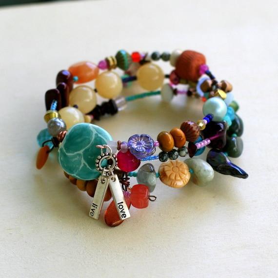 colorful chunky beaded bracelet, memory wire bracelet, boho bracelets, earth tones