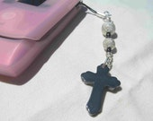 Silver and Hematite Cross Phone Charm by Diana