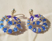 Ocean Blue Crystal Hoops Earrings by Diana