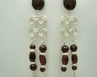 Garnet Elegance Earrings by Diana