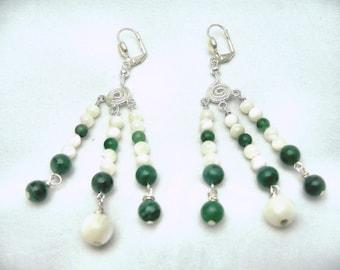 Green Goddess Chandelier Earrings by Diana