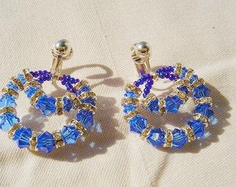 Ocean Blue Crystal Hoops Earrings by Diana