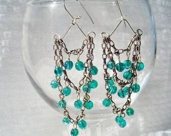 Green Chandelier Earrings by Diana