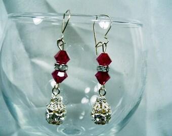 SALE-Elegant Ruby Crystals Earrings by Diana