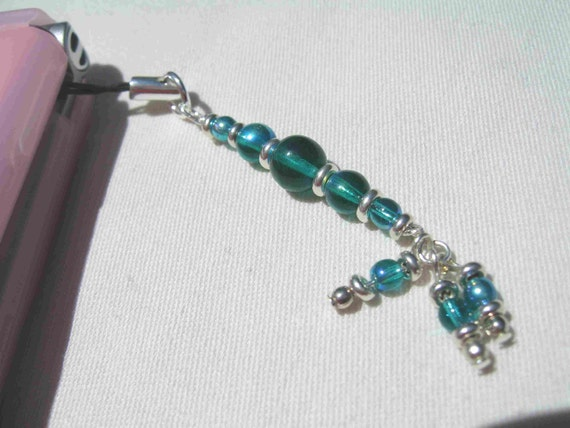 Green Glass Phone Charm by Diana
