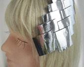 Avant Garde Silver Chrome Headpiece, Reflective Metallic Hair Accessory, Mod Hair Accessory, Pop Art Hair Clip