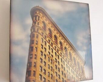 SALE, Flatiron Building, New York Architecture, Encaustic Photo Art, 4x4 Mini Art