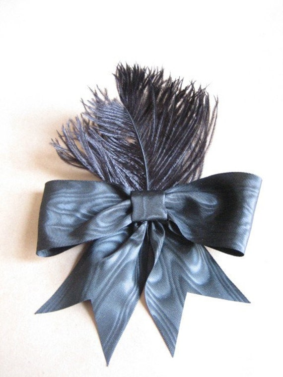 Victorian Glamour, Black Bow and Ostrich Hair Accessory