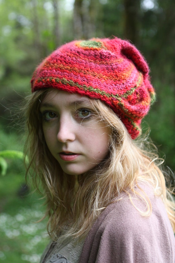 Berry Mojito- freeform crochet hat OOAK