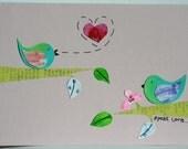Speal Love Bird - Original Collage - Card(blank)