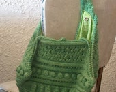 OOAK Handknit Green Wool Shoulder Bag