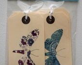 4 Large Moth Gift Tags