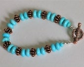 Kingman Turquoise and Copper Bracelet - Southwest Look - Blue Turquoise From Arizona - Copper Clasp