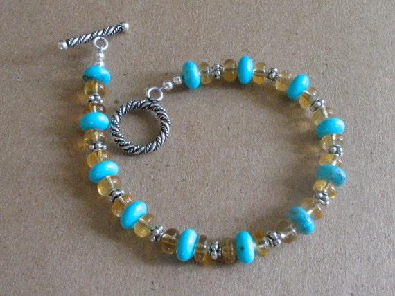 Turquoise and Citrine Bracelet Blue Kingman Turquoise Yellow Citrine Sterling Silver Handmade Bracelet