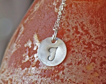 Monogram Sterling Silver Necklace - Bridesmaids Custom Initial Charm Necklace