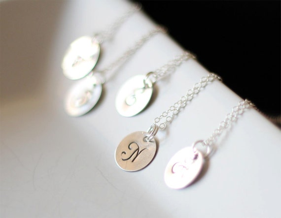 SALE 15% OFF - Set of 5 or More Monogram Sterling Silver Necklace - Bridesmaids Custom Initial Charm Necklace