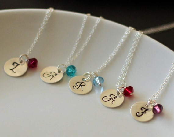 SALE 15% OFF - SEt of 5 Monogram Sterling Silver Necklace with Birthstone Swarovski Crystals - Bridesmaids Custom Initial Charm Necklace