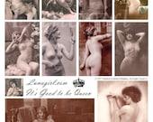 GOOD to be QUEEN collage sheet DOWNLOAD nudes vintage photos risque French postcards women girls Paris pink digital ephemera altered art