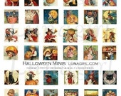 HALLOWEEN MINIS collage sheet DOWNLOAD vintage images art inchies charms squares digital ephemera witches pumpkins black cats