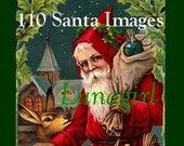 110 SANTA CLAUS vintage images, Christmas digital DOWNLOAD, Victorian postcards printables holiday crafts cards art St Nicholas Father Noel